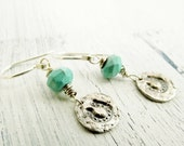 Fine Silver Earrings Turquoise Horseshoe Dangles Metal Clay