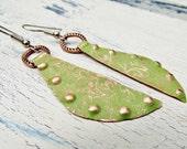 Etched Copper Earrings Rustic Unique Green Dangle Earrings