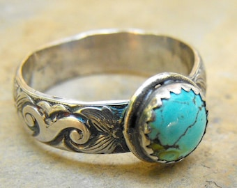 Western Turquoise Ring, Wide Ring Band, Sterling Turquoise Stone Ring, Turquoise Jewlery for men