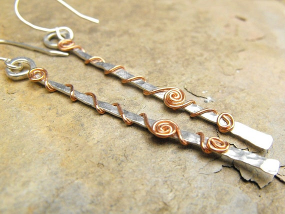 Sterling Silver Stick Earrings Copper Wire Wrapped