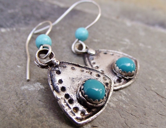 Fine Silver Earrings Dangles with Sleeping Beauty Turquoise