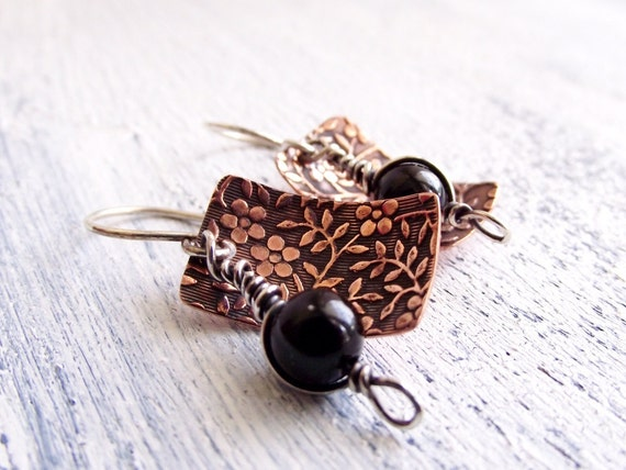 Embossed Copper Earrings with Black Onyx Mixed Metal