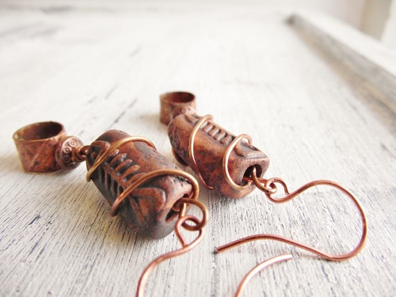 Fish bone earrings rustic etched copper ring dangle earrings for Fish bone earrings