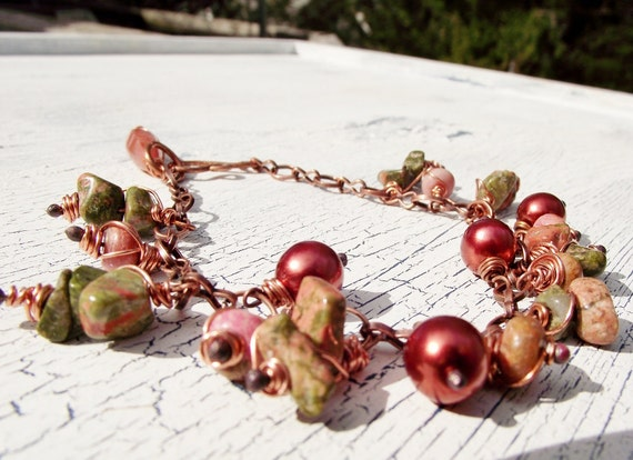 Rustic Copper Chain Bracelet Unakite and Pearl Clusters