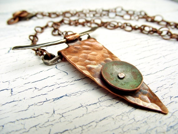 Copper necklace- Tribal Dagger Necklace- Mixed Metal Pendant- Unisex Jewelry
