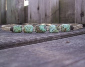 Hemp Necklace with African Turquoise and Bamboo
