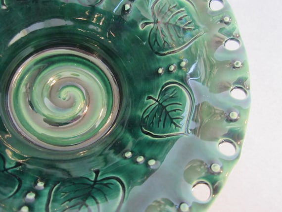Dark Blue Green with Engraved Leaves Earring Holder Made From Wheel Thrown Pottery