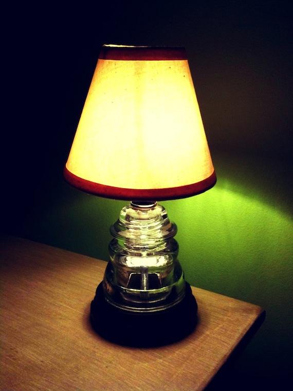 Items Similar To Repurposed Glass Insulator Table Lamp