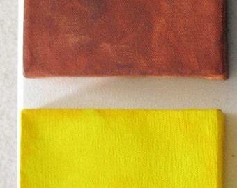 Custom Canvas Art - Custom Canvas Kids Art - Custom Colors - Two Mini Canvases Brown & Yellow
