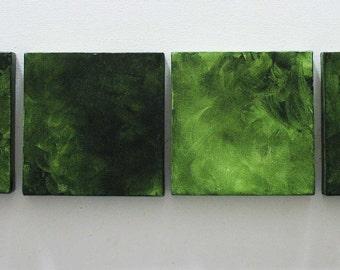 Large Living Room Decor, Living Room Art, Wall Decoration, Green Living Room, Canvas Art, Green Canvas set of four