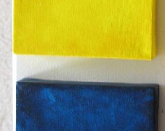 Home Decor - Wall Decor - Square Art - Square Canvas - Wall Cubes - Two Mini Canvas Art Squares- Dark Blue Yellow