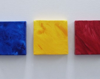 Art For Nursery-Nursery-Nursery Art-Nursery Decor- Primary Colors Set of 3 Mini Canvases