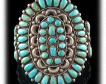 Vintage 1940s Native American Old Pawn Sterling Silver Turquoise Cluster Bracelet
