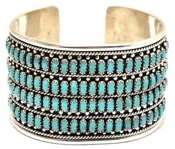 Vintage 1980s Pawn Native American Zuni Sterling Silver Turquoise 4Row Mens Womens Bracelet