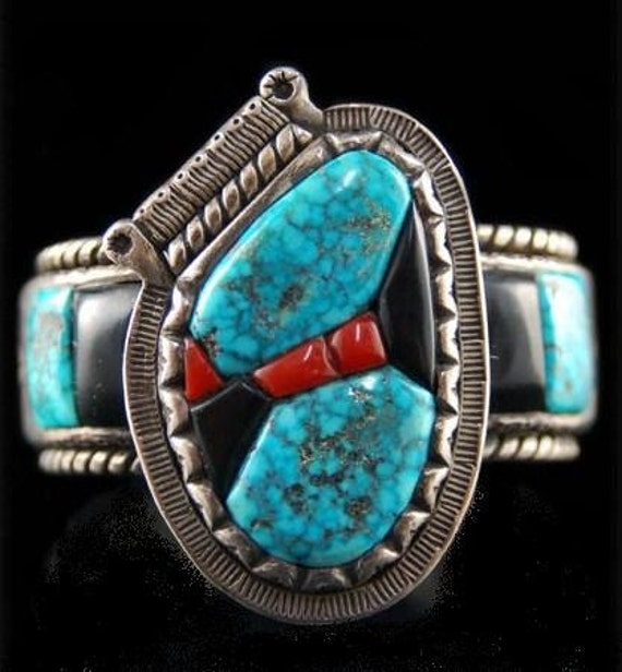 Vintage Old Pawn Navajo Sterling Silver Turquoise Coral Bracelet