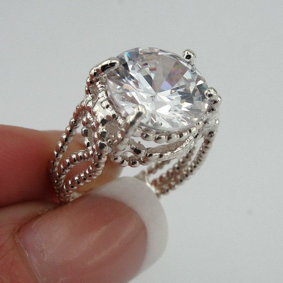 NEW Sterling Silver with huge CZ Ring size 7 - ready to ship  (rd r100