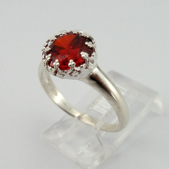 Sterling Silver Red Garnet Ring size 6.5 READY TO SHIP (rd r100