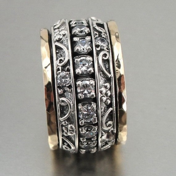 Great 9k  Gold and Sterling Silver CZ Swivel Band Ring size 7