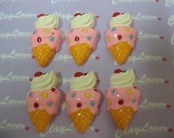 Ice Cream Cone with Whip Cream and Cherry Cabochons (PJ-070)