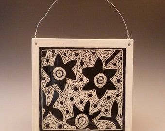 "Carved Graphic Flower 8"" x 8"" Black and White Porcelain Tile"