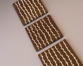 """Carved Graphic Vine Black Tile Set of 3 - 4"""" x 4"""" Porcelain Tiles (Set No. 1)"""