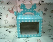 10 Polka Dot Boxes with Clear Window in pink and blue (No.192) 3 1/8 x 3 5/8 x 2 7/8