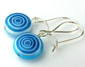 EE11161211) Light blue millefiori glass swirl bead dangling earrings