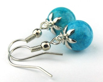 EE060110507) Aqua fossil ball dangling earrings
