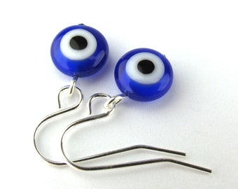 EE11150805) Dark blue millefiori glass eye bead dangling earrings