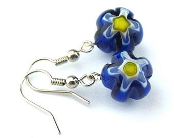 EE11021203) Blue millefiori glass flower bead dangling earrings