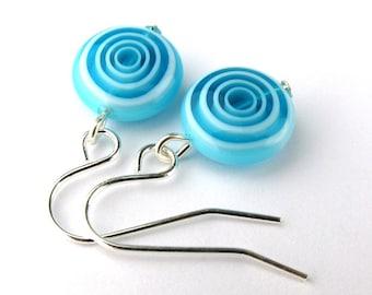 EE11161004) Light blue millefiori glass swirl bead dangling earrings