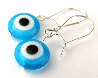 EE11151210) Light blue millefiori glass eye bead dangling earrings
