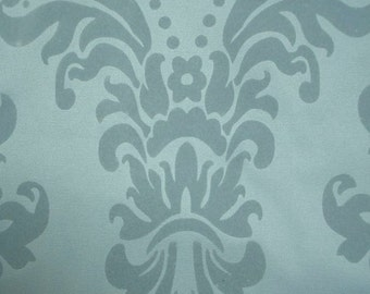 """Large Fabric Piece, Pale Blue Damask, Heavy Cotton & Velveteen, 54"""" x 46"""", Upholstery or Curtain Quality, Free Shipping"""