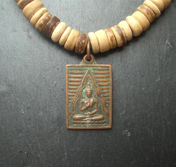 Buddha Pendant, Blessed Amulet, Earth Necklace, Choker, Bronze with Verdigris Patina, Natural Wood Beads, Free Shipping