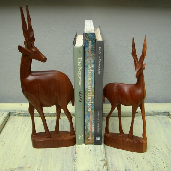 Bookends, Vintage Wood Carvings, Gazelle / Antelope, Large, Couple, Shelf Display Animals, Natural Wood, Beautifully Made, Free Shipping