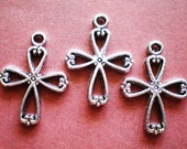 20 silver jewelry craft cross charms 22.5mm