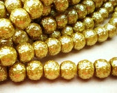 25 antique gold glass beads textured 6mm jewelry supplies BYZ