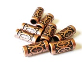 30 red copper beads 12mm 7mm 2mm craft jewelry supplies