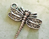 10 silver dragonfly jewelry supply charms 22x 21x 7mm