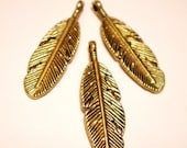 12  Golden feather jewelry charms jewelry pendants 30mm 9mm GDF