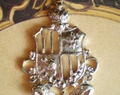 4 royal crest charms silver jewelry supplies 32mm 42mm