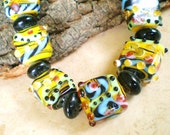 Glass lampwork beads  assorted sizes Festive yellow blue turquoise 19 beads (SB1),