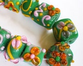 12 Lampwork beads Green pink beads lampwork jewelry supplies(SB1)