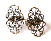 Filigree ring blank 4  antique bronze adjustable ring base diy jewelry making findings