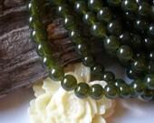 35 Green Glass beads 8mm  transparent organic moss green beadwork supply