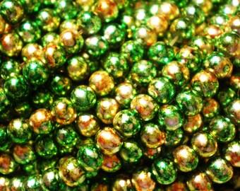 45  Green Glass Beads 4mm gold metallic