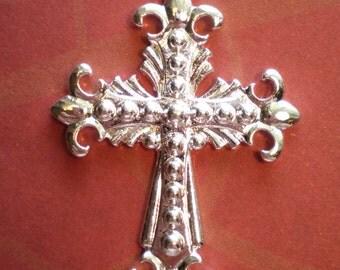 Cross jewelry charms Fluer De Lis 5 silver jewelry craft  findings 41.5x30x3mm