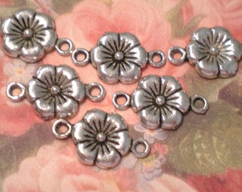 Flower Jewelry Connectors 8 silver metal 28 x10 x2mm