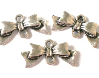 12 silver metal bow connector charms 20 x 10 x 3mm