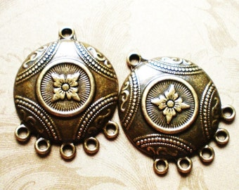 Earring Findings Ornate Chandeliers 4 Jewelry supply antique bronze metal (F6)
